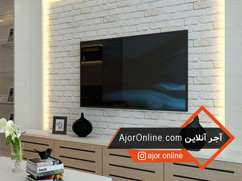 نمای آجری tv wall