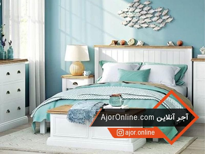 دیزاین اتاق خواب آبی