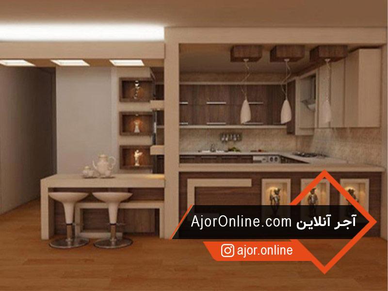 مدل اپن آشپزخانه با ام دی اف