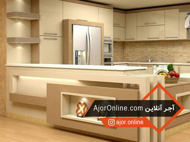 طراحی اپن آشپزخانه کوچک با کناف